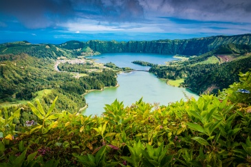 """Beautiful view of Seven Cities Lake """"Lagoa das Sete Cidades"""" Vista do Rei viepoint in São Miguel (Sao Miguel Island, Azores, Portugal)"""